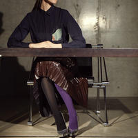 FAKUI / SLIM FIT RIBBED TIGHTS / PURPLE×BLACK