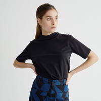 THINKING MU / Basic Black Mock T-shirt