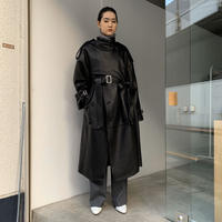 【DELTA EXCLUSIVE】KEISUKEYOSHIDA / Leather NIght Trench / BLACK