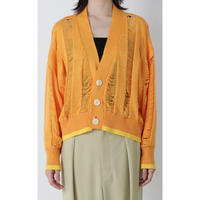 BASE MARK / Cut Jacquard Short Cardigan / Orange