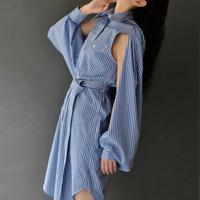 JW ANDERSON / SPLIT-SLEEVE STRIPED SHIRT-DRESS /BLUE