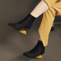 FLEI / TRIANGLE HEEL BOOTS / BLACK×YELLOW