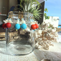 ウミタケ珊瑚とカラービーズのピアス ★お好きな色が選べます