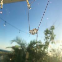 ハーキマークォーツのネックレス(エンド:淡水パール)