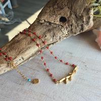 枝珊瑚モチーフシャンク巻きネックレス(染め珊瑚:赤)