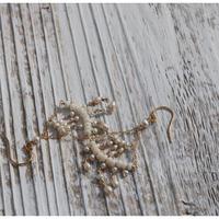 ○ウミタケ珊瑚と淡水パールのシャンデリアピアス