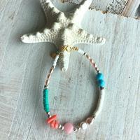 染めクォーツ(ピンク)と深海珊瑚のブレスレット
