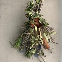 【Dry flower】ブラウンココフラワーとブラシバンクシャのグリーンスワッグ