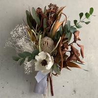【Dry flower】ココフラワーとカピバラさんバンクシャで初夏のドライフラワースワッグ