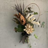 【Dry flower】パープルの稲とホワイトグラデーション コンパクトブーケスワッグ