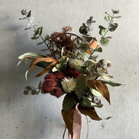 [Dry flower]紅の木とユーカリの秋色コンパクトスワッグ