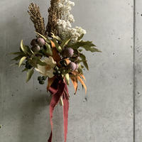 [Dry flower]ユーカリトランペットとキビのスワッグ(ボルドーリボン)