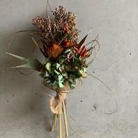 【Dry flower】オレンジ唐辛子と秋アジサイのミニブーケスワッグ