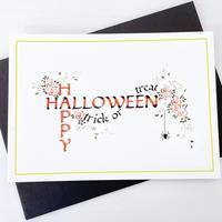 Greeting card 手書きのカリグラフーハロウィンカードtrick or treat (封筒2色)