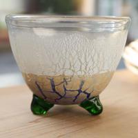 沖縄 琉球ガラス 宙吹きガラス工房虹 稲嶺盛吉氏 足つき小鉢