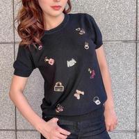 pop刺繍サマーニット半袖