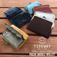 TIDEWAY タイドウェイ 本革 がま口 二つ折り財布 ポシェ ミドルウォレット 財布 メンズ レディース 日本製