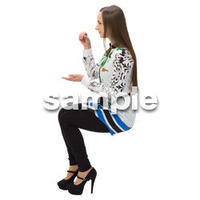 Cutout People 外国人-女性-座る BB_443