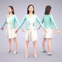 3D人モデルAポーズ 092_Aya
