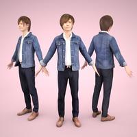 3D人モデルAポーズ 088_Ren