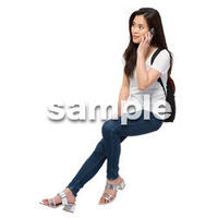 Cutout People 座る女性 KK_402