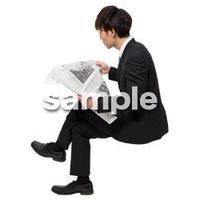 Cutout People 座る 男性 LL_048