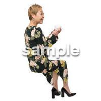 Cutout People 座る女性 KK_449