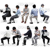 人物切抜きセット☆座る-ビジネス男性 1_set020