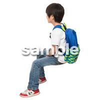 Cutout People 座る 男の子 LL_529