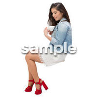 Cutout People 外国人-女性-座る BB_469