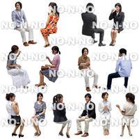 人物切抜きセット☆座る-にぎやかペア 1_set015