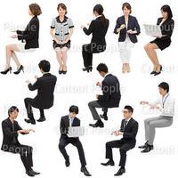 人物切抜きセット☆ビジネス・座る日本人 1_set094