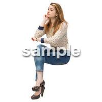 Cutout People 外国人-女性-座る BB_457