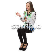 Cutout People 外国人-女性-座る BB_442