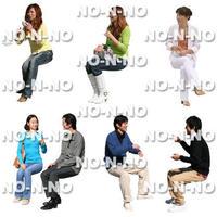 人物切抜きセット☆座る人 8set020