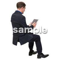 Cutout People 座る 外国人男性 LL_559