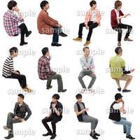 人物切抜きセット☆座る男性 1_set181