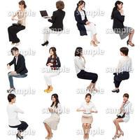 人物切抜きセット☆座る女性 1_set167