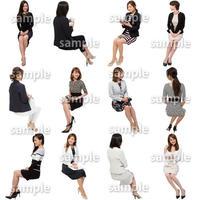 人物切抜きセット☆座る女性 1_set165