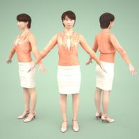 3D人モデルAポーズ 030_Aya