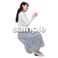 Cutout People 座る女性 KK_328