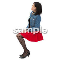 Cutout People 日本人-女性-座る BB_498