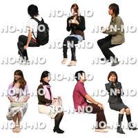 人物切抜きセット☆座る人 8set024
