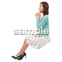 Cutout People 座る女性 KK_308