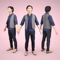 3D人モデルAポーズ 070_Syun