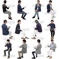 人物切抜きセット☆座る男性 1_set177