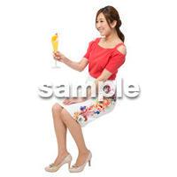 Cutout People 座る女性 KK_387