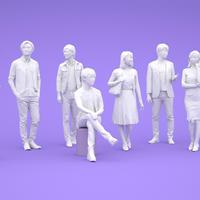 LOWポリゴン-3D人物10体セット  [Posed]  002