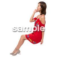 Cutout People 座る女性 KK_394