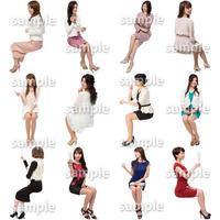 人物切抜きセット☆座る女性 1_set166
